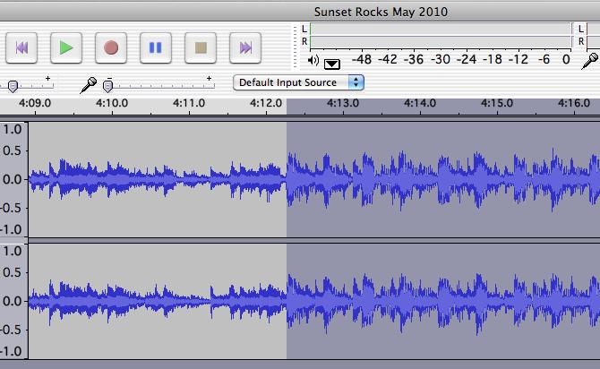 Выдели проблемные участки с самого начала с помощью мыши, затем кликни ивыдели весь трек